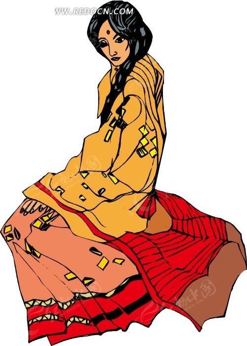 免费素材 矢量素材 矢量人物 女性女人 手绘坐在地上的印度女子
