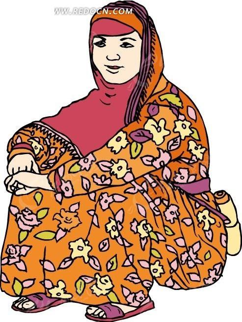 免费素材 矢量素材 矢量人物 女性女人 维吾尔族少女