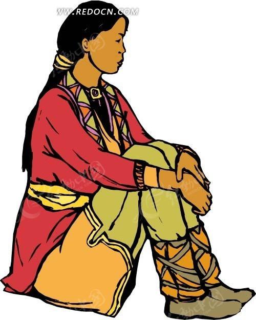 卡通少数民族女孩