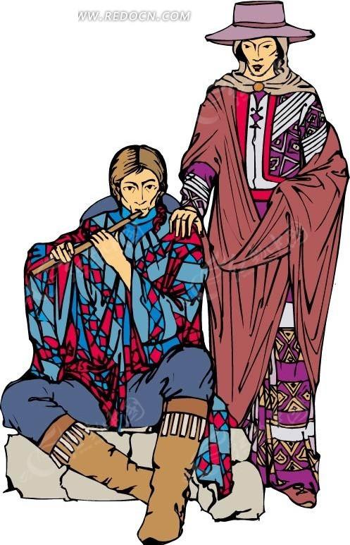 卡通画坐在石头上吹笛子的人矢量图