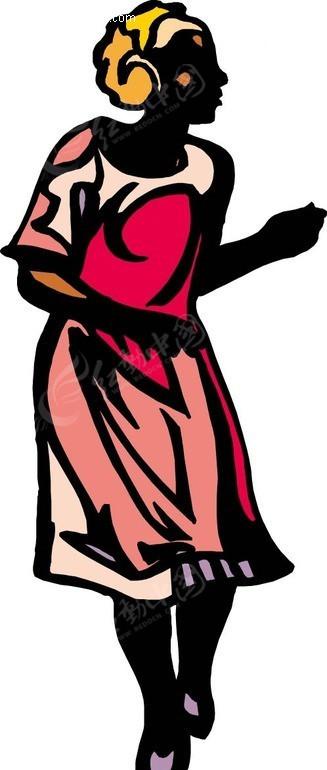 手绘红衣服的女人