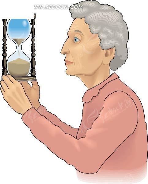 卡通画看着沙漏的老太太矢量图