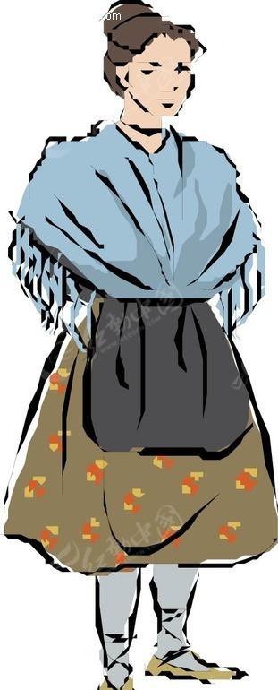 手绘穿褐色裙子的外国女人