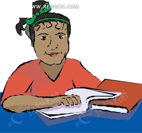 手绘看书的女人