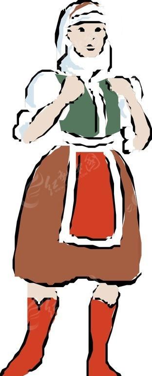 免费素材 矢量素材 矢量人物 女性女人 手绘女仆打扮的女人  请您分享
