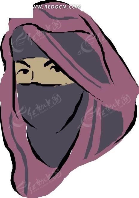 手绘戴面纱的女人-美女矢量图|女人矢量图|女性矢量素材下载(编号