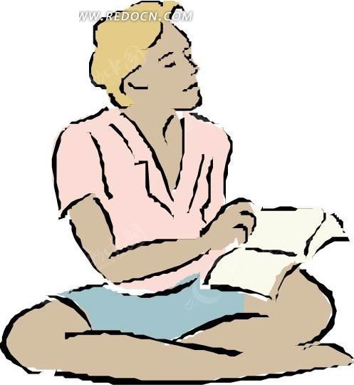 手绘盘腿坐着看书的人矢量图