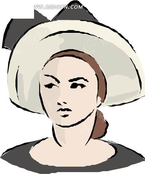 戴帽子的女士 卡通画 插画 手绘 矢量素材 人物图片 卡通形象 卡通