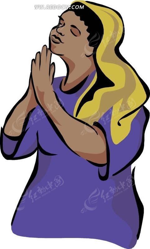手绘双手合什闭眼祈祷的女人