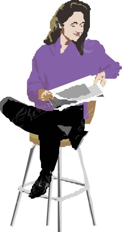 手绘坐在椅子上翘着腿看报的女人