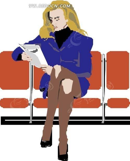 手绘坐在椅子上看书的金发美女