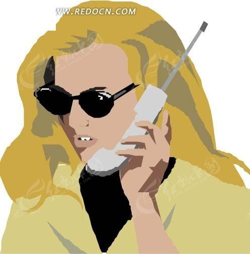 手绘打电话的金发美女eps免费下载_女性女人素材_编号