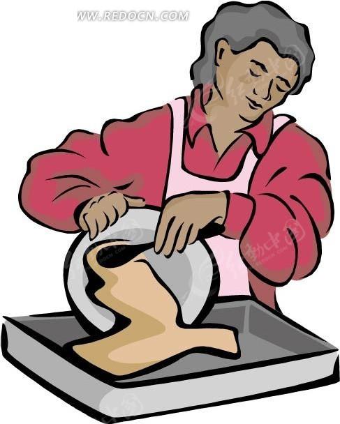 做家务的女人 卡通画 插画 手绘 矢量素材 人物图片 卡通形象 卡通