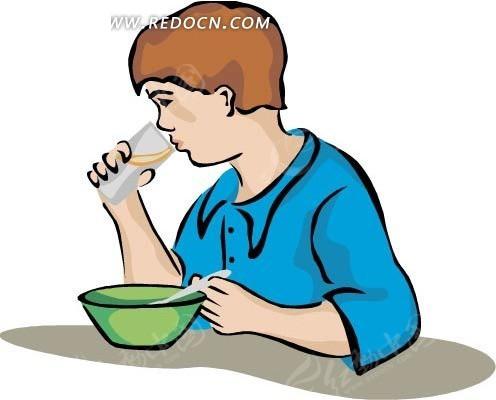 手绘喝牛奶的男孩