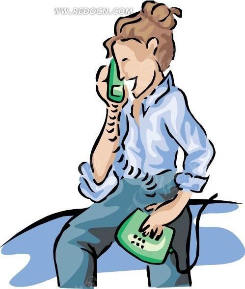 手绘插画坐着打电话的女人