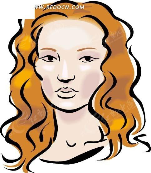 金色卷发的女士手绘头像