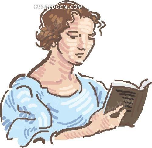 手绘插画看书的女人