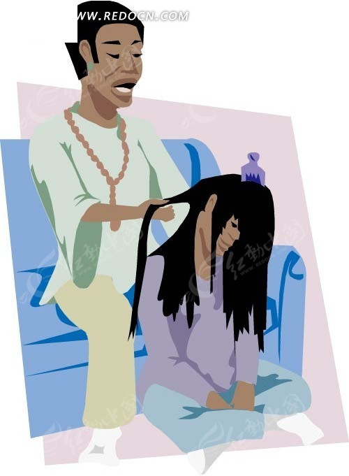 手绘梳理头发的两个女人