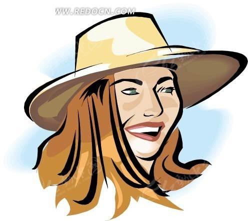 手绘戴帽子的美女头像