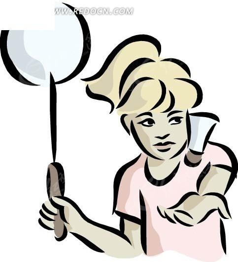 羽毛球 运动 体育 女人 手绘 卡通 绘画 插画 美女图片 女人图片 女性
