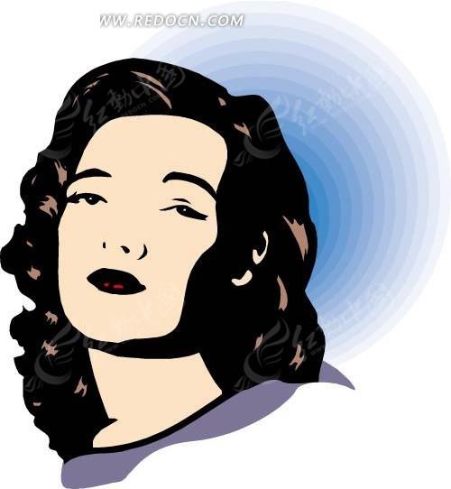 免费素材 矢量素材 矢量人物 女性女人 手绘仰着头的长发美女头像  请