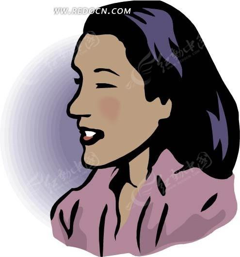 手绘微笑的黑发美女