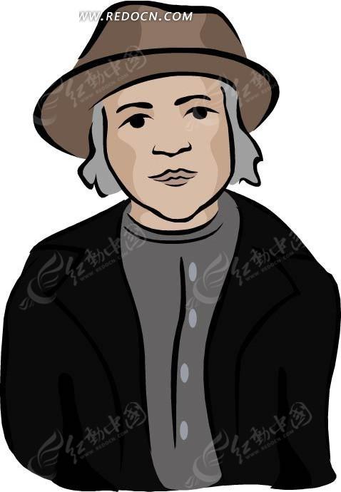 手绘穿黑衣戴帽子的人