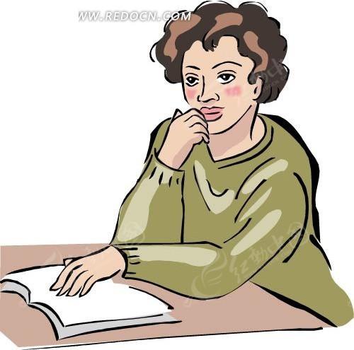 侧面看书的女生头像