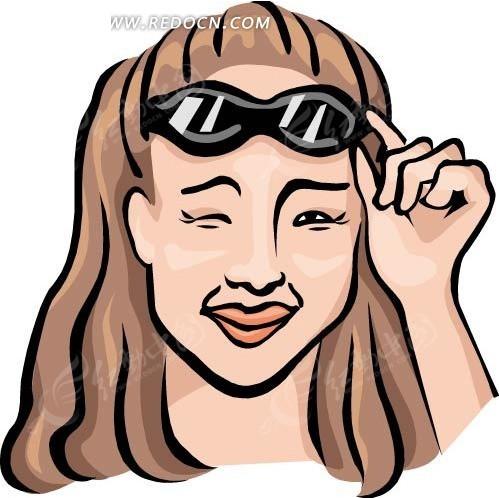 免费素材 矢量素材 矢量人物 女性女人 > 手绘拿着眼镜眨眼的女士