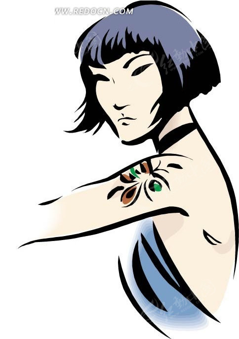 手绘漫画上有纹身的短发同人美女胳膊海贼王a漫画图片