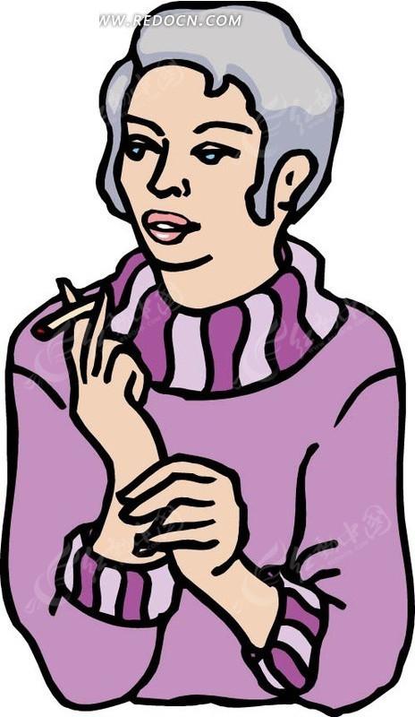 手绘抽烟的女人图片