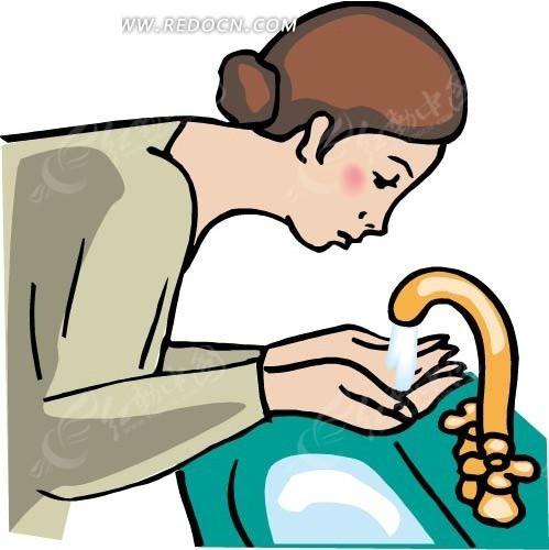 手绘水龙头前双手接水的女人