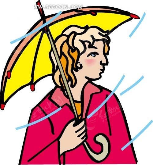 手绘风雨中撑着伞的人