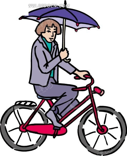 手绘骑单车打伞的女人