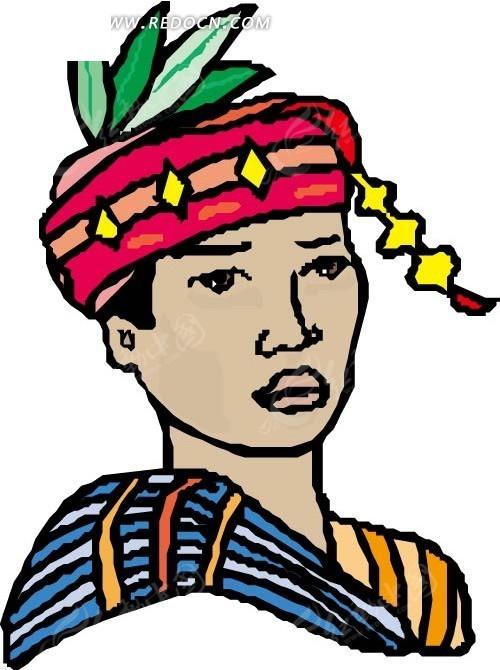 少数民族少年手绘头像