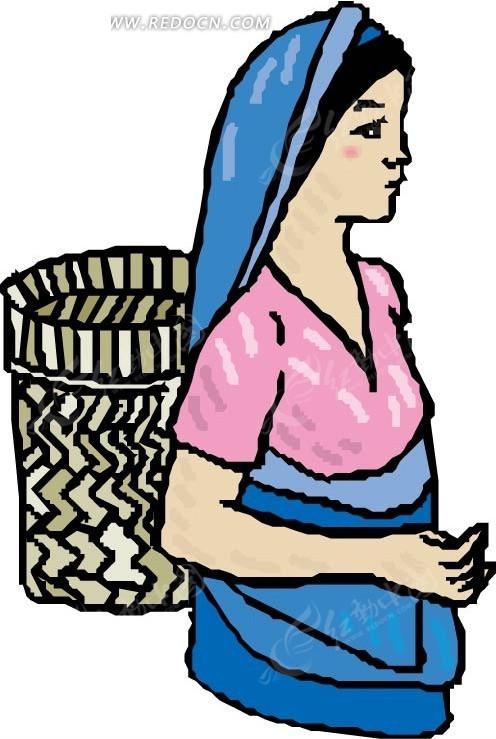 手绘戴着蓝色头巾的女人