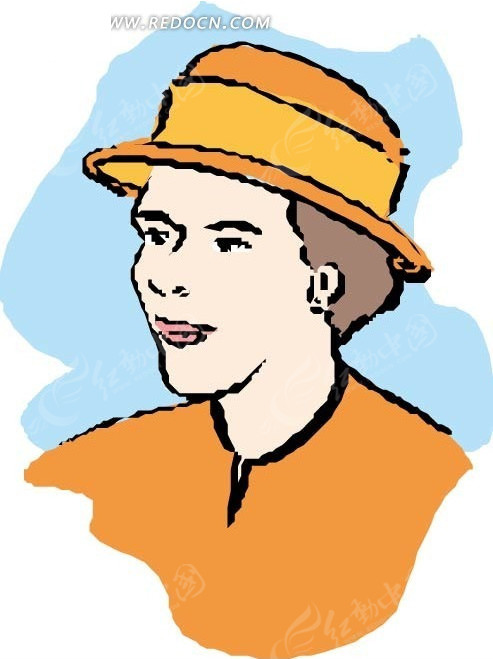 戴黄帽子的女士手绘头像