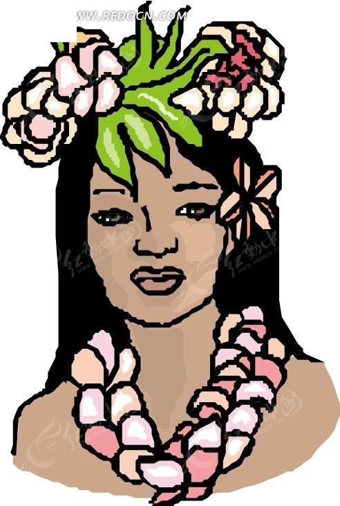 手绘带花环的美女