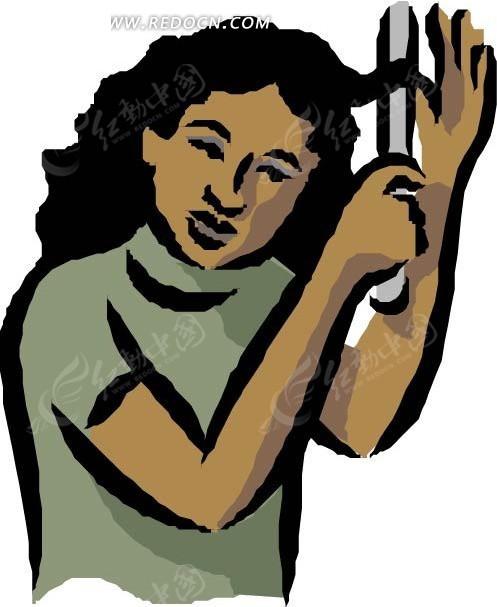 梳理头发 女人 女士 卡通人物 卡通画 插画 手绘 矢量素材 人物图片