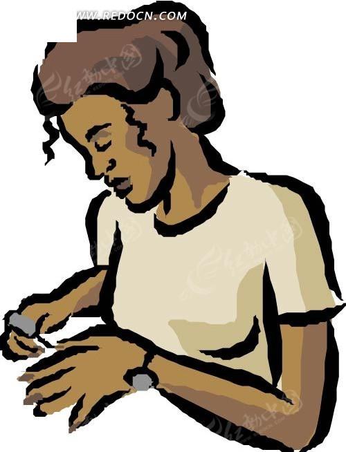 手绘人物涂指甲油的女人