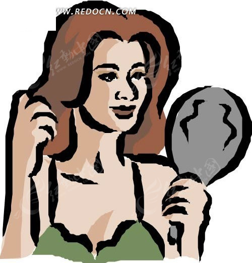 手绘头发背影卡通