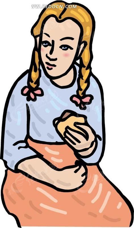 手绘插画吃东西的金发女孩