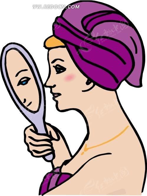 儿童画照镜子的女人