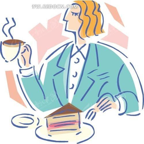 儿童画 用餐的男人 卡通人物 卡通画 插画 手绘 矢量素材 人物图片