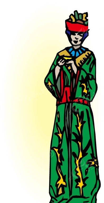 手绘插画穿绿色长袍的人
