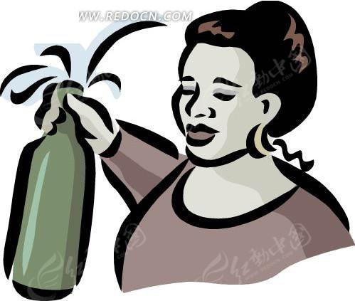 手绘插画拿酒瓶的女人eps素材免费下载_红动网