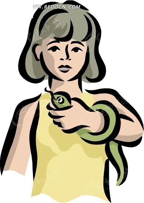 手绘插画玩蛇的女孩