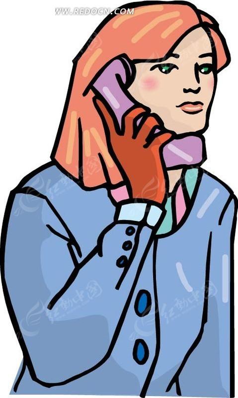 手绘插画打电话的美女