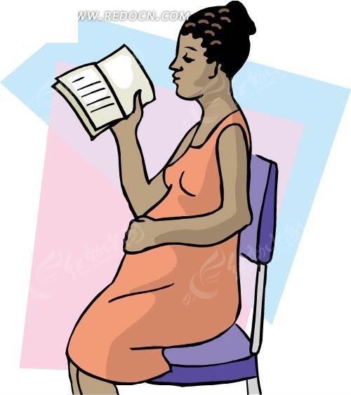 手绘坐着看书的孕妇
