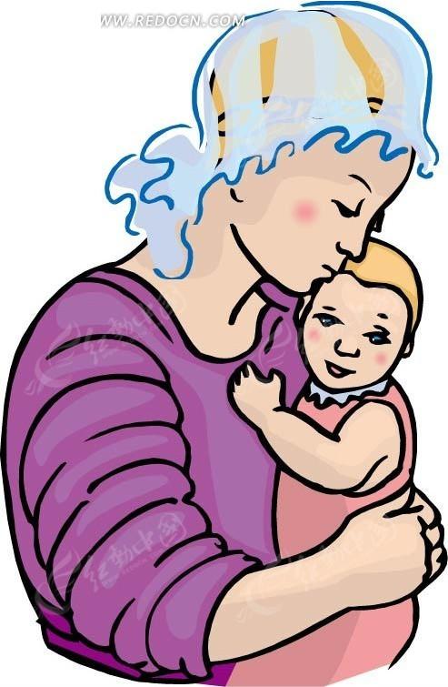 手绘抱着婴儿的母亲
